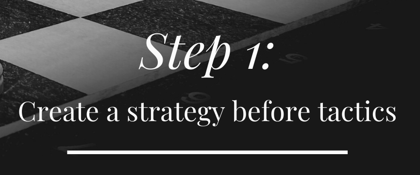 Step 1: Create a solid marketing strategy before deciding on tactics.