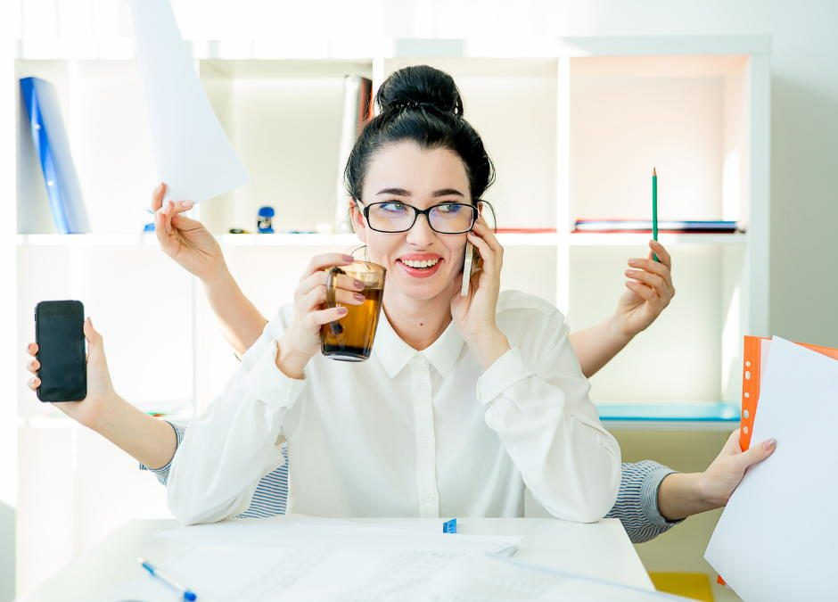 Productive woman with marketing consulting